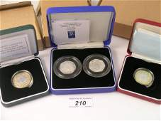 210C: A silver proof £2 coin dated 1998, two silver pro