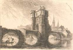 411C: Rev E Pryce-Owen, 'The Old Welsh Bridge', etching