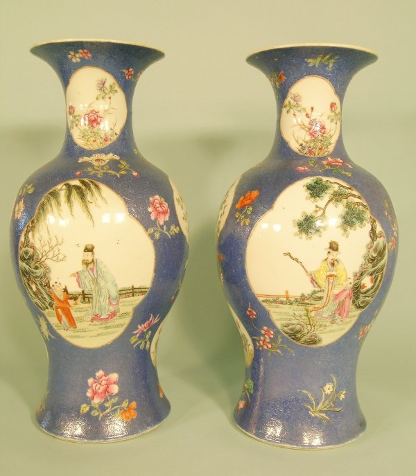 1B: A pair of Chinese famille rose baluster vases, Qing