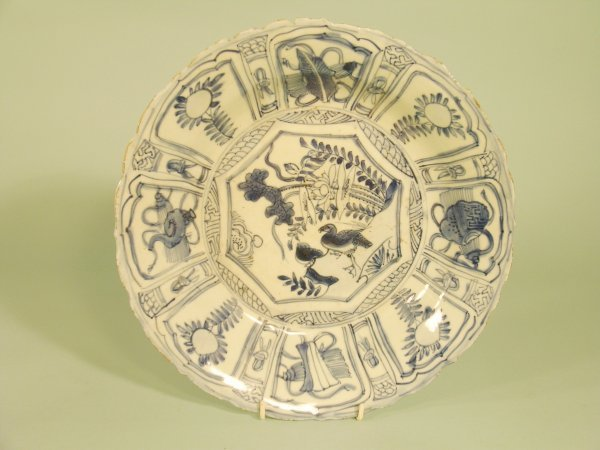 3B: A Chinese blue and white kraak porcelain dish, Wanl