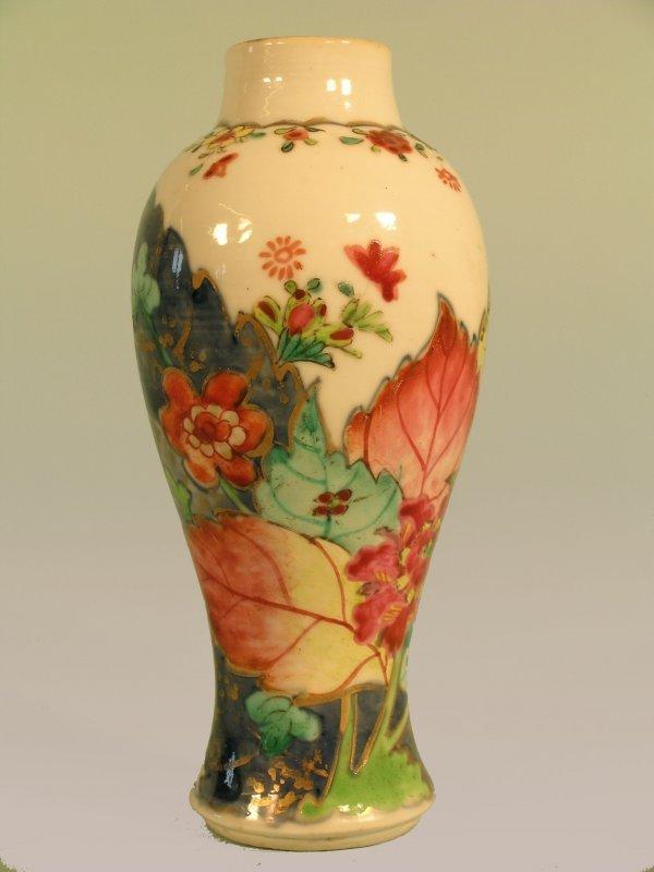 5B: A Chinese famille rose tobacco leaf baluster vase,