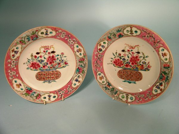 12B: A pair of Chinese famille rose plates, Qianlong (1