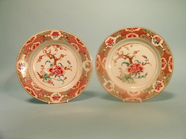 13B: A pair of Chinese famille rose plates, Qianlong (1