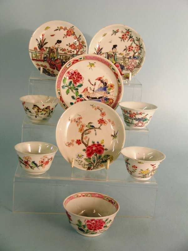 17B: A Chinese famille rose tea bowl and a saucer, Qian