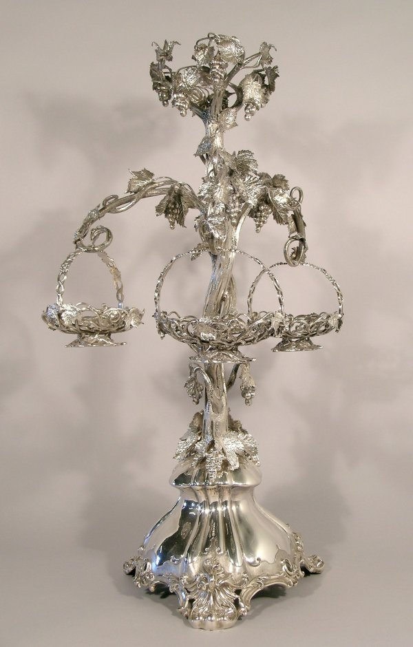 1C: A silver plated epergne, 19th century, the central
