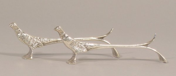 3C: A pair of knife rests designed as pheasants Bishton