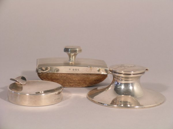 4C: A selection of silver desk wares to include; a silv
