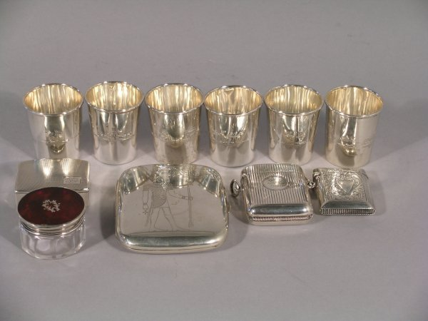 6C: A selection of silver wares to include; a silver pi