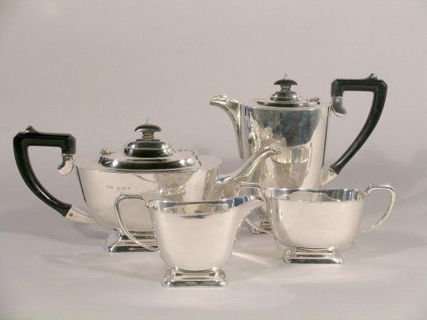10C: An Art Deco silver four piece tea service Deakin a