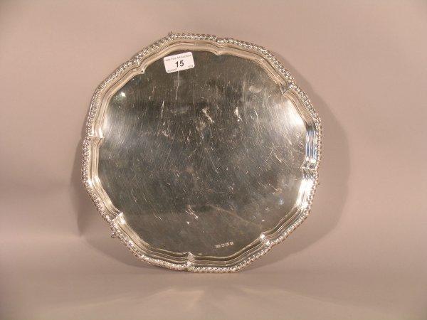 15C: A silver salver Emile Viner, Sheffield 1962, of oc