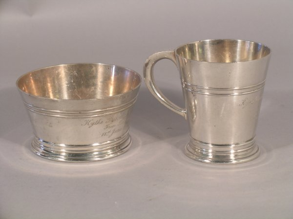 21C: An Art Deco silver christening mug and bowl, maker