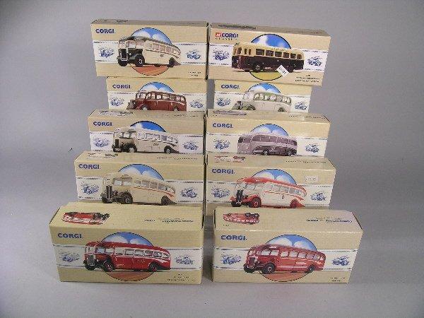 16B: A group of ten Corgi buses, mainly AEC Regal, Waym