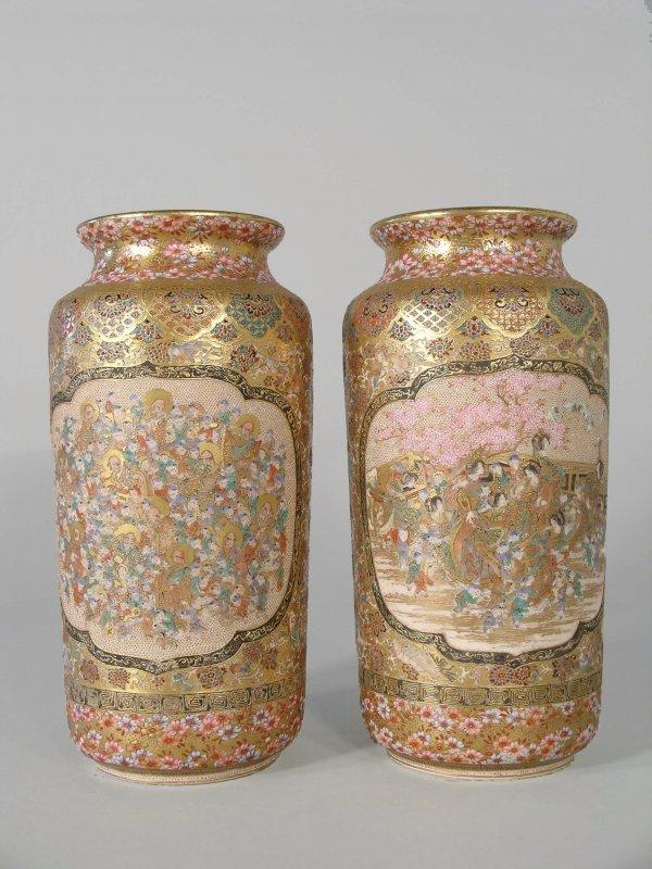 7D: A pair of Japanese Satsuma vases, Meiji period (186