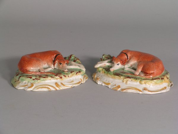 15D: A pair of Staffordshire greyhound figures, 19th ce