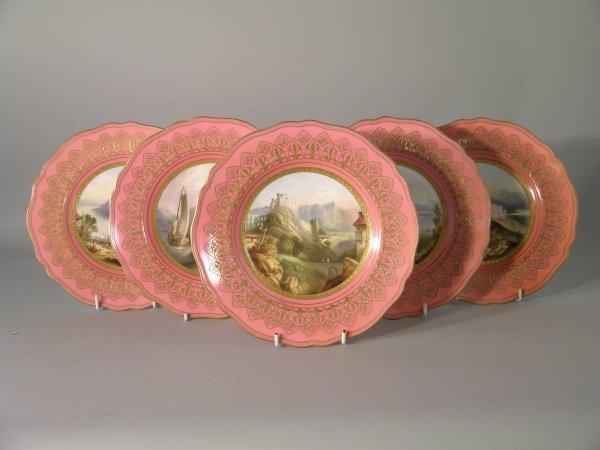 22D: Six Copeland dessert plates, circa 1870, each pain