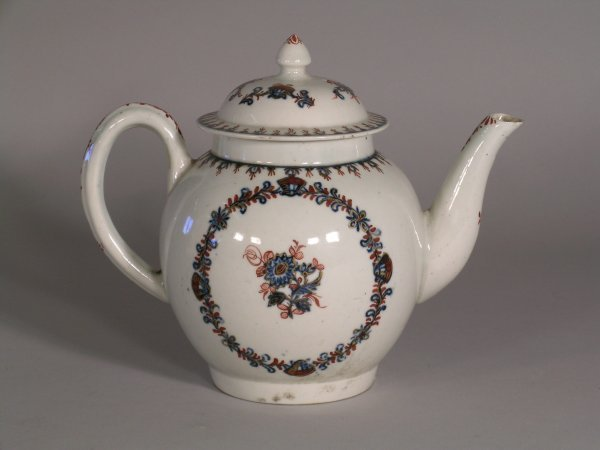 24D: A Liverpool teapot, circa 1770-75, with conical fi