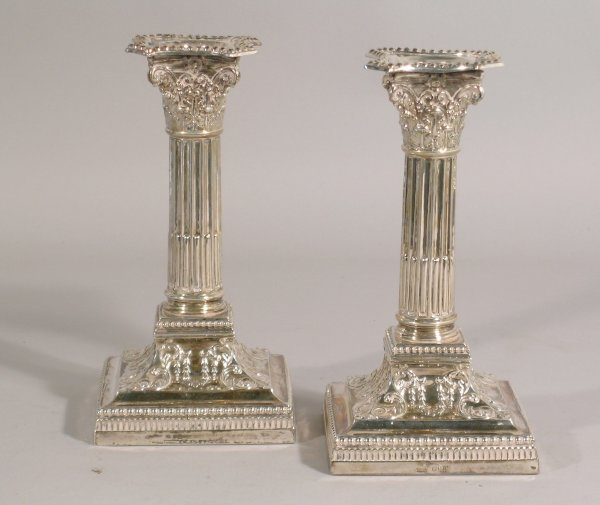 16B: A pair of silver candlesticks, James Dixon & Son,