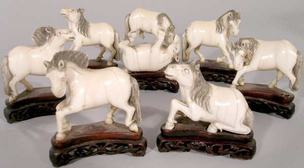 1D: A set of Chinese carved ivory horses of Mu Wang 19t