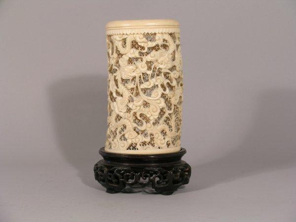 4D: A canton pierced ivory  vase, 19th century, car