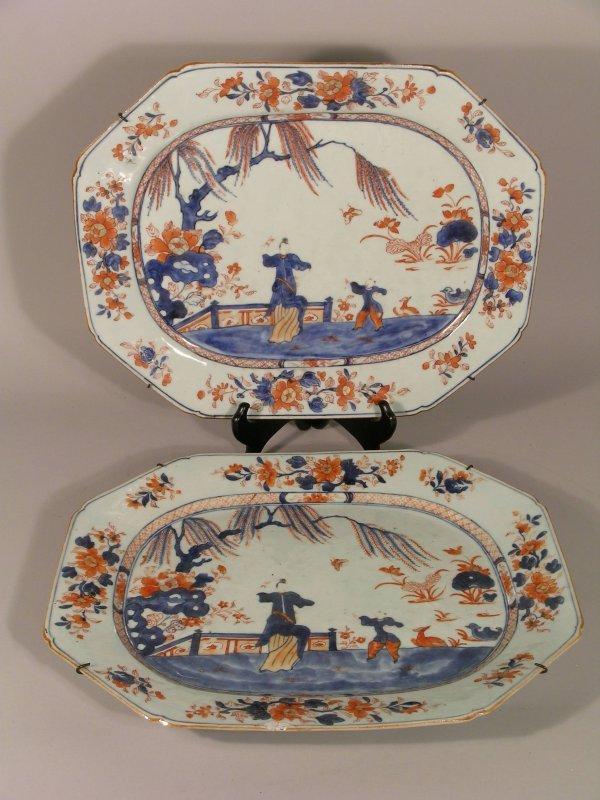 7D: A pair of Chinese Imari porcelain canted rectangula