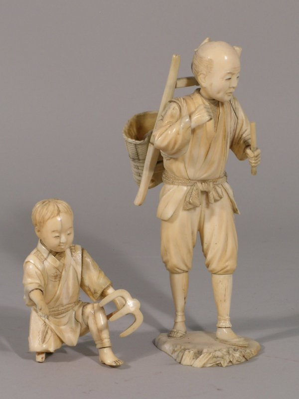 9D: A Japanese carved sectional ivory figure of a peasa