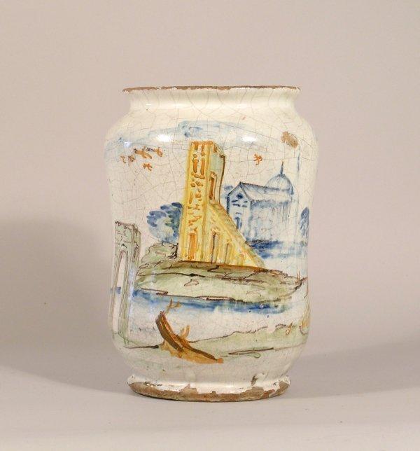12D: An Italian maiolica wet drug jar, of waisted form
