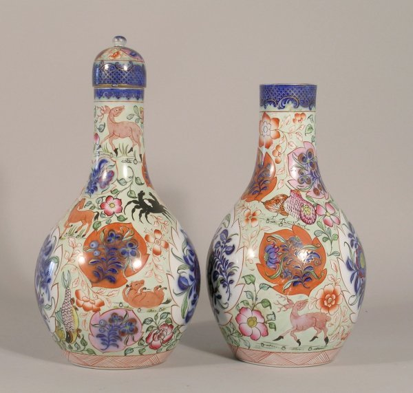 17D: A near pair of English pottery bottle vases in chi