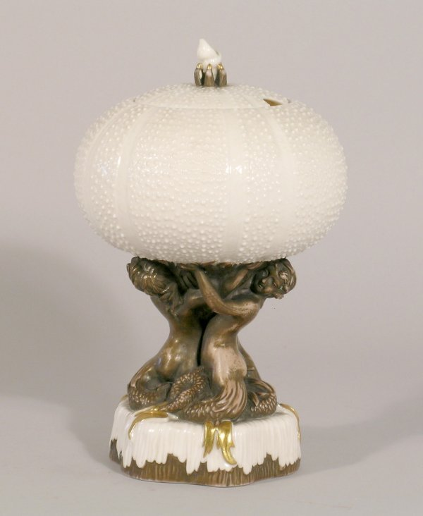 23D: A Belleek 'Echinus' vase and cover circa 1890, mod