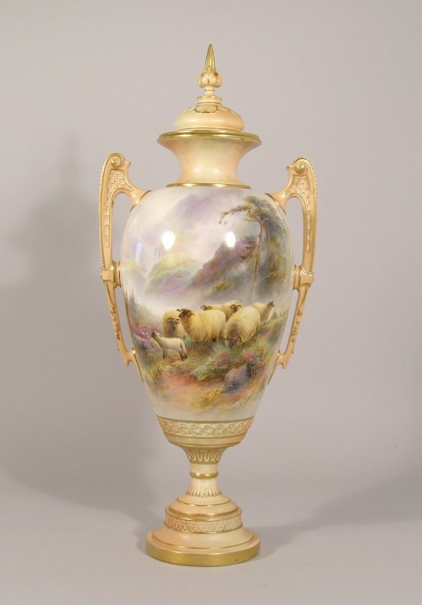 39D: A large Royal Worcester two handled vase and cover