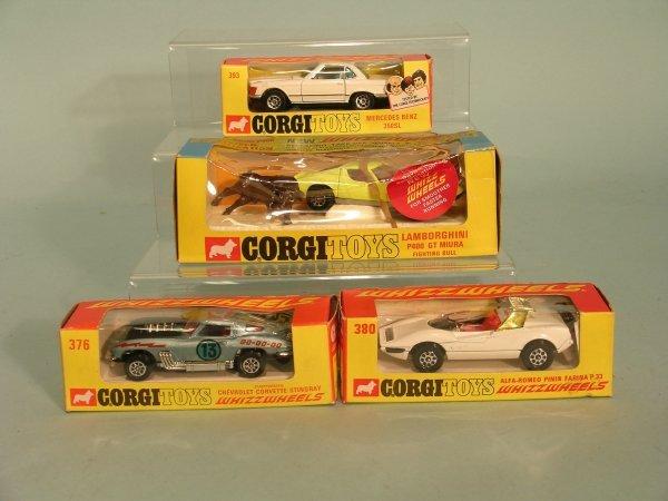 2E: Four Corgi cars, early Whizz Wheels production, a n
