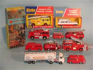 A collection of mainly Dinky Fire Engines and othe
