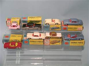 A group of eight 1960s boxed Corgi Toy saloons, to