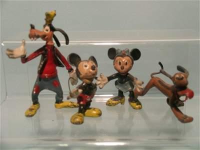 79E: A group of four pre-war Walt Disney figures of unk