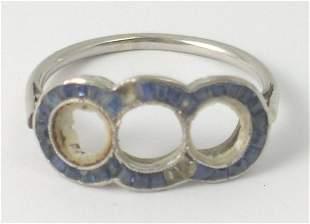 A white metal ring setting, the triple setting set