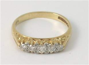 A five stone diamond ring in Victorian style, the f
