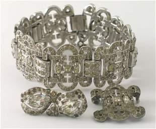 A paste set Art Deco bracelet, with attached safet