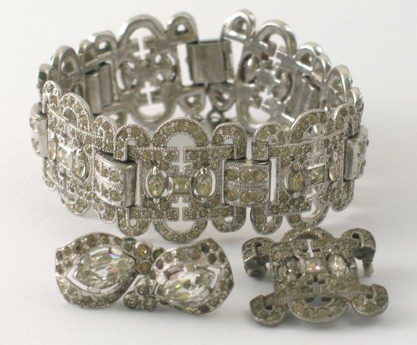 18B: A paste set Art Deco bracelet, with attached safet