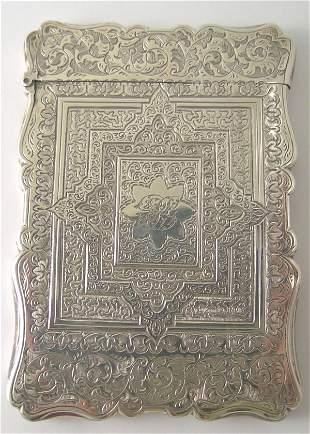 A Victorian silver card case, by A & S, Birmingham