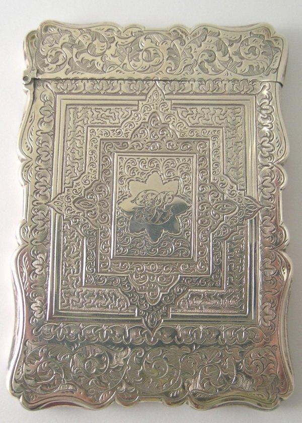24B: A Victorian silver card case, by A & S, Birmingham