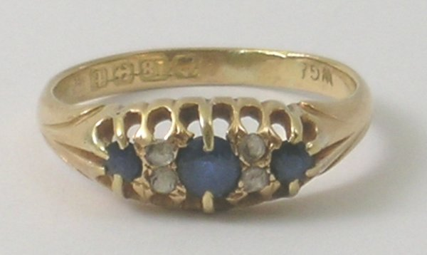 28B: A sapphire and diamond seven stone ring, Birmingha