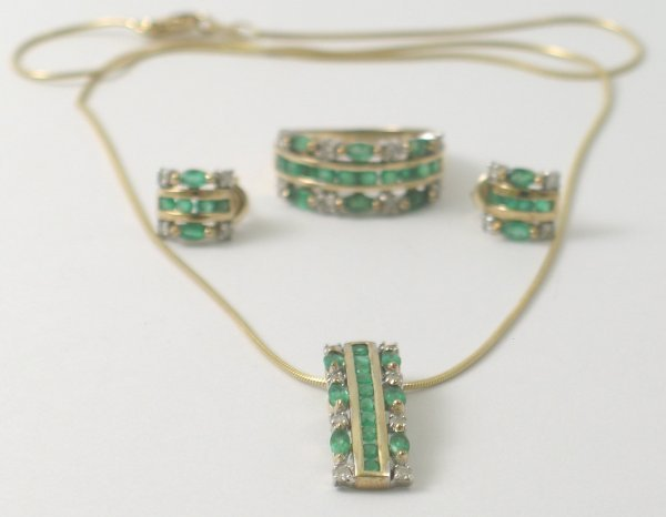 29B: A suite of emerald and diamond set jewellery, comp