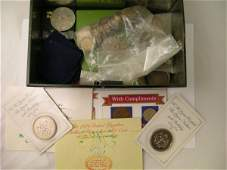 123B Two boxes of assorted coins to include crowns ha
