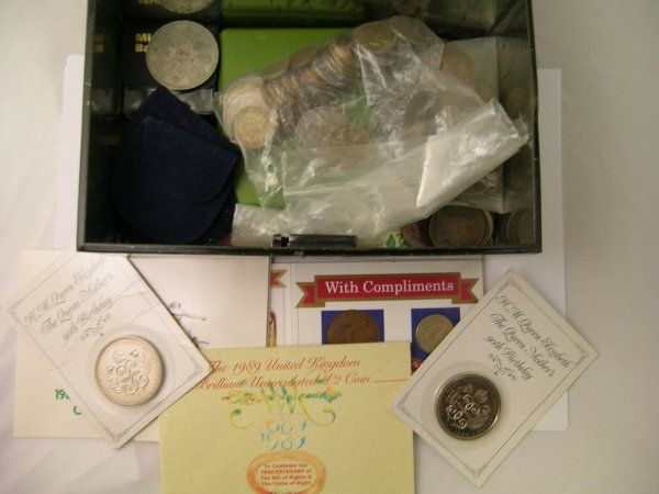 123B: Two boxes of assorted coins to include crowns, ha