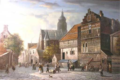 272b G Schroter A Busy Dutch Market Square With Chur