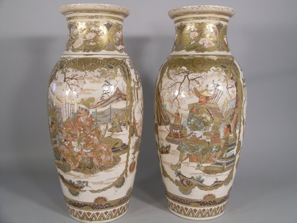 4C: A pair of Japanese Satsuma earthenware vases, late