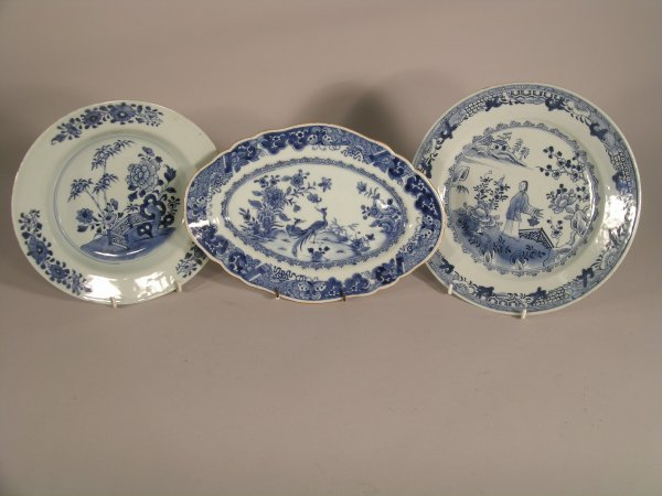 14C: Two Chinese export blue and white porcelain shaped