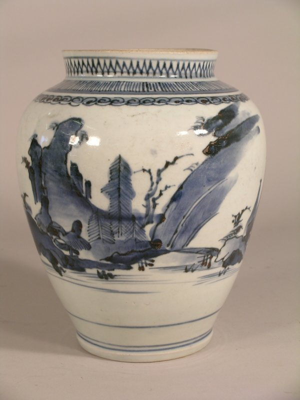 15C: A Chinese blue and white ovoid vase, Transitional,