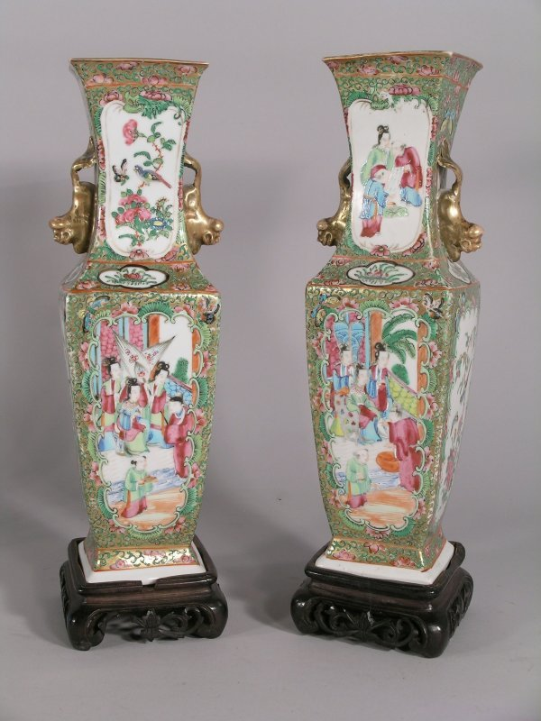 18C: A pair of Chinese Canton enamel faceted baluster v