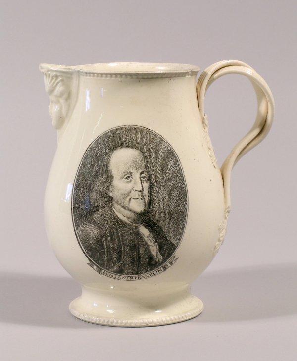 23C: A creamware centenary jug, 19th century, the balus