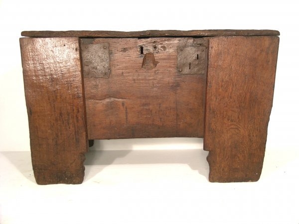 184C: A clamp front chest, 17th century, oak, the singl